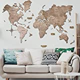 Wall Art Farmhouse decor Gift Wood World Map Large Travel map Wall Rustic Home decor Office Dorm Living room Interior design - By Enjoy The Wood