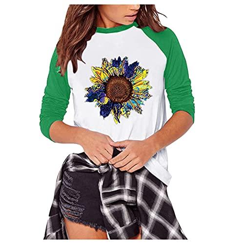 Camisetas de Girasol para Mujer, Camiseta Casuales de TúNica Manga Larga, Blusa con Cuello Redondo, Cómodas,GráFico Camisetas Pullover