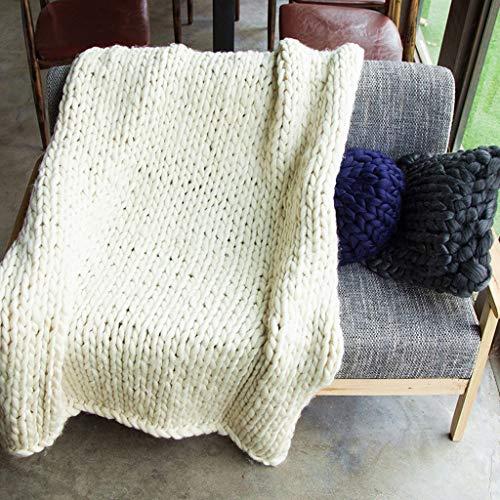 Hcxbb-g Werpen Chunky Knit deken, blokkerende knit-sofa-deken gebreide deken handgemaakte werp slaapkamerdecoratie-deken super groot bed sofa-deken (kleur: beige, maat: 60 * 80CM)