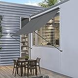 [pro.tec] Markise 400 x 120 cm Grau Witterungsbeständig Sonnenschutz Beschattung Terrasse Garten