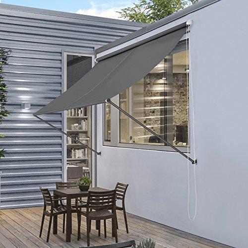[pro.tec] Markise 200 x 120 cm Grau Witterungsbeständig Sonnenschutz Beschattung Terrasse Garten