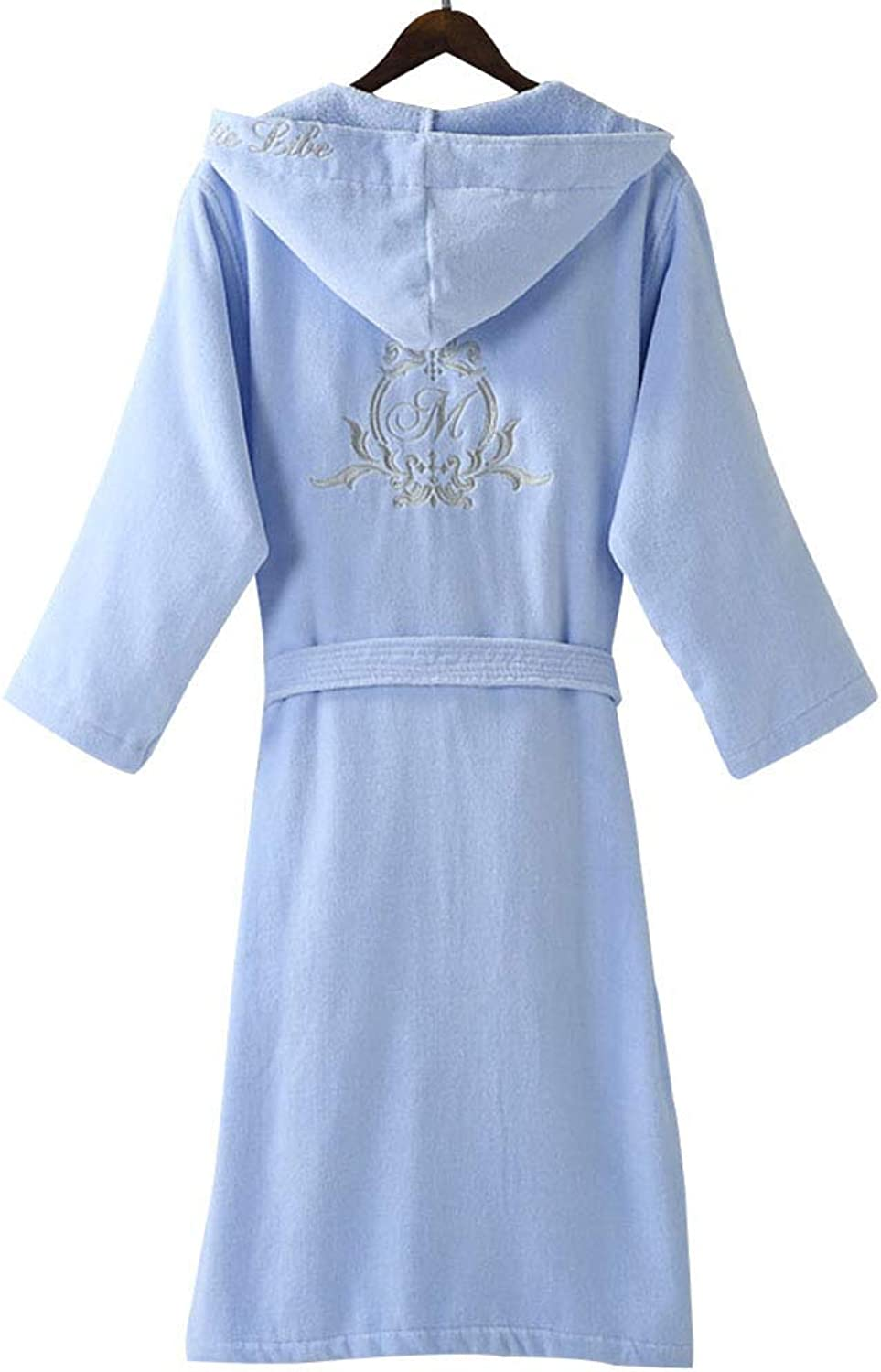 Hotel Bathrobes, Men Women Cotton Toweling Robe, Adult Hooded Thickened Long Dressing Gown