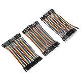 Akozon Conectores de Alambre de Puente Dupont 3pcs Colorido 10cm Jumper Wires 40pin Macho-Hembra / 40pin Macho-Macho / 40pin Hembra-Hembra para Breadboard Arduino