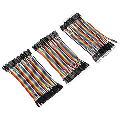 120pcs 3 in 1 Kit Cavetti Jumper Filo Dupont Wire 28AWG Cavi 40 Pezzi da M/F Maschio a Femmina, 40 Pezzi da Maschio a Maschio, 40 Pezzi da Femmina a Femmina per Arduino Uno Raspberry Pi