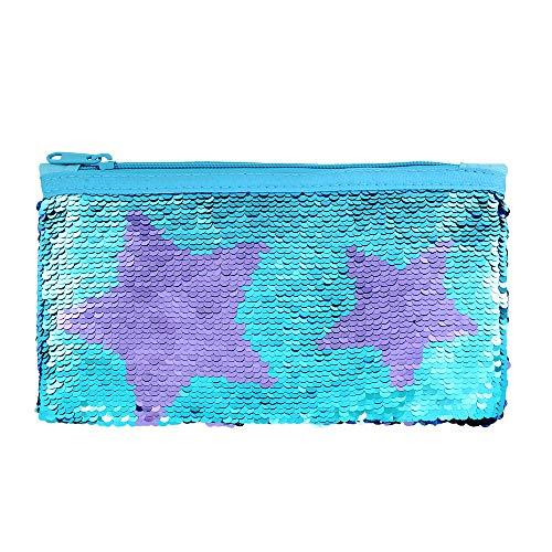 Cute Pencil Case for Girls Kids Mermaid Sequin Pencil Pouch Pen Holder Cosmetic Makeup Organizer Bag Purse for Women