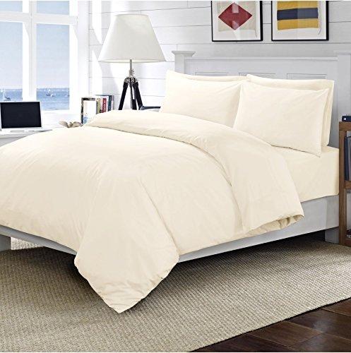 Linens World - Set di biancheria da letto con copripiumino e federe, 100% cotone egiziano, 200 fili, crema, King