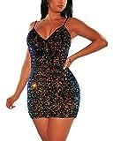 IyMoo Women's Sexy Sequin Glitter Spagetti Straps Bandage Bodycon Mini Club Party Dress Multicolored S