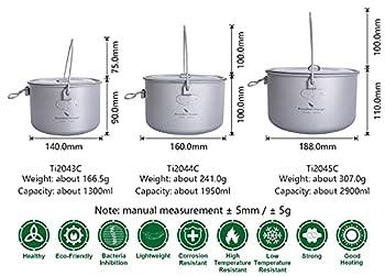 iBasingo Pot suspendu en titane 1.3L / 1.95L / 2.9L Marmite de camping avec couvercle, ustensiles de cuisine en plein air, bouilloire légère