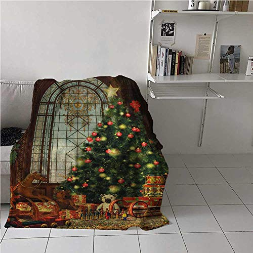 Blanket Warm Christmas Air Conditioner Blanket Magical Vintage Ambiance Big Old Fashioned Window Xmas Tree Various Presents Best Gift for Women, Men, Kid, Teen Brown Red Green 70x84 Inch