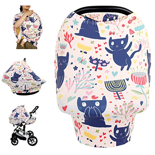 Nursing Cover Breastfeeding Cover, Soft Breathable Infant Carseat Canopy, Infant Stretchy Cover for Baby Swing, Shopping Cart/High Chair/Stroller Covers, Baby Shower Gifts (Lovely Kitten)