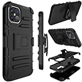 Phone Case for iPhone 12/iPhone 12 Pro, Yunerz Holster Heavy Duty Shockproof Hybrid Case Cover with Swivel Belt Clip and Kickstand for Apple iPhone 12/iPhone 12 Pro 6.1inch (Black)