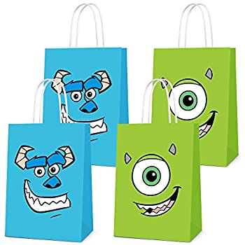 16 PCS Party Favor Bags for Monster Birthday Party Supplies Party Gift Goody Treat Candy Bags for Monster Party Favors Decor Birthday Party Decor for Monster Themed Birthday Decorations