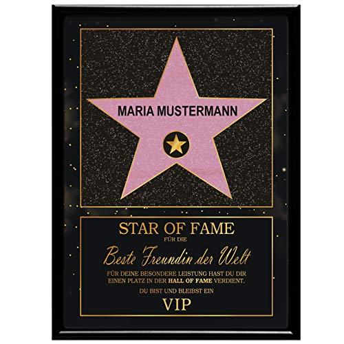 Multionline Star of Fame- Hollywood Stern im Walk of Fame-Design für die Beste Freundin – Personalisiert (mit Wunschnamen) inkl. Bilderrahmen