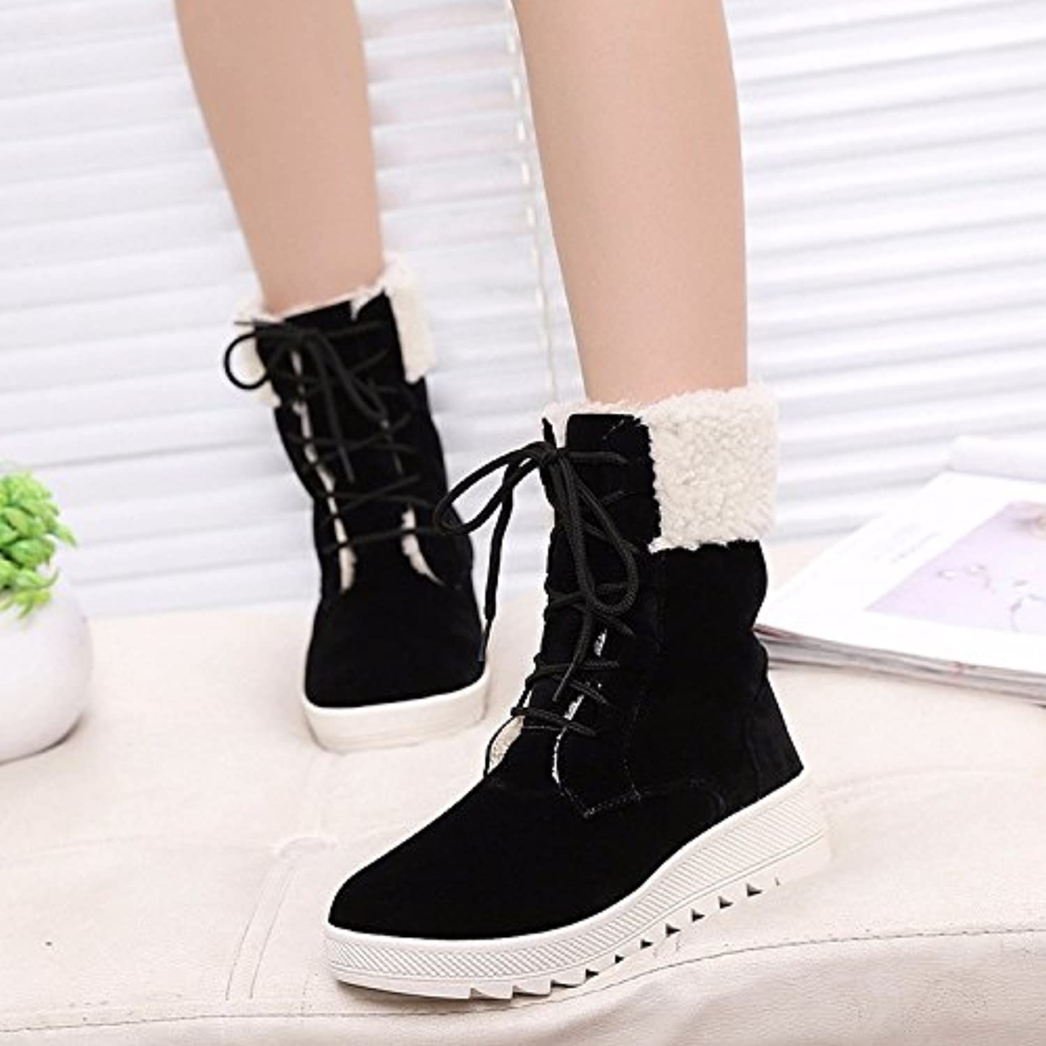 WYMBS Women's shoes Low Tube Solid color Scrub Tie Round Head Snow Boots