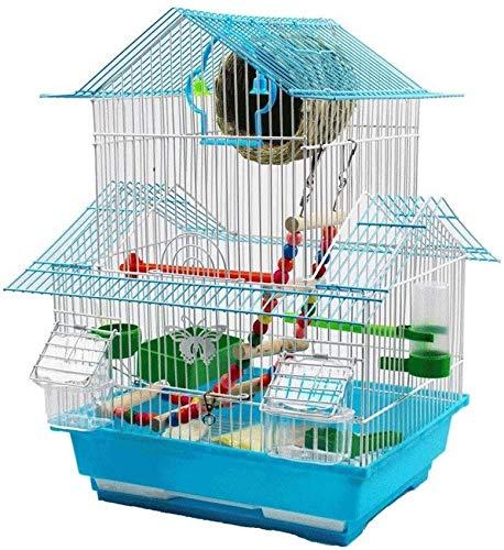 Fuentes de agua para interior, alto 48 cm Techo de tres pisos Jaula para loros pájaros pequeños con bandeja deslizable 1 fuente de agua y 2 tazas de alimentación Adornos de Feng Shui Decoración de fu