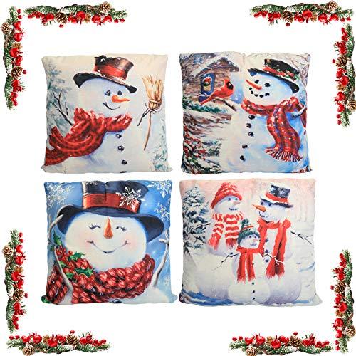 KATELUO 4 pcs Fundas navideñas para Cojines,Funda de Almohada de Navidad,Cojines Navideños Funda de Almohada,para sofá de decoración navideña, Cama.45 cm x 45 cm.(Monigote de Nieve)
