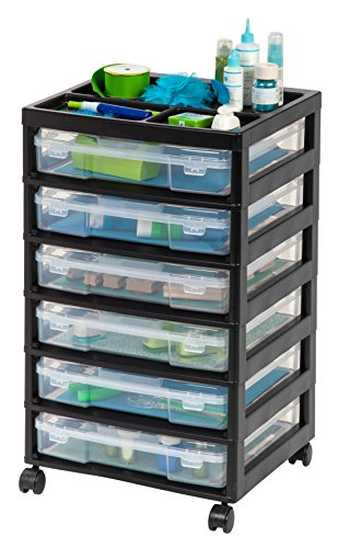 IRIS USA 6-Drawer Scrapbook Cart with Organizer Top, Black