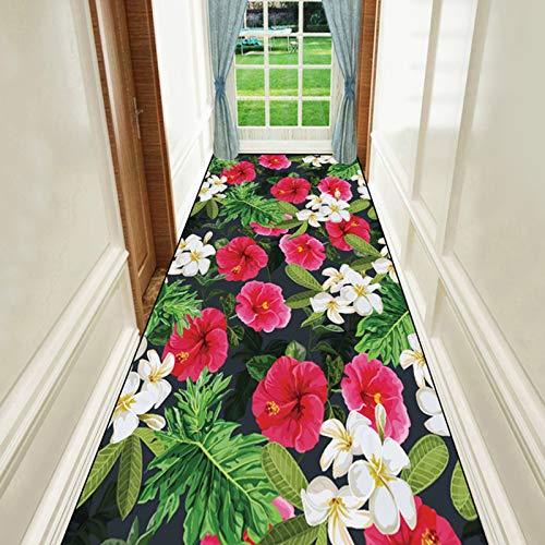 Flur Teppich Läufer Amerikanischer Stil rutschfeste Teppiche Läufer - Flur, Wohnzimmer, Schlafzimmer, Lodge Bodenmatte Waschbare Teppich Fußmatte mit 3D Blumenmuster - Garten (Size : 120×350cm)