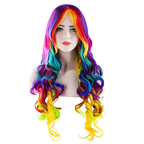Fashion Sexy Women Ladies Rainbow Dash Cosplay Party Wig Long Curly Full Wig My Little Pony, [Importado de UK]