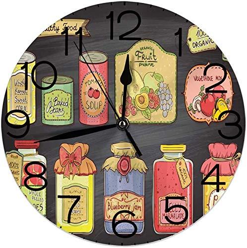 Nihaoma Dekorative runde Wanduhr für das Haus, Bohnen in Dosen und Marmelade Bunte Komposition auf Tabelle Hintergrund für Wohnzimmer