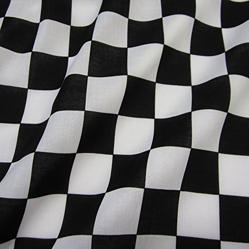 Meterware Stoff Baumwolle Zielflagge Formel 1 Schachbrett Carrera schwarz weiß
