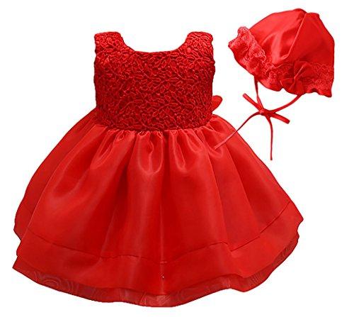 Happy Cherry Baby Mädchen Kleid Dacron Unifarben Brautkleid Ärmellos Ballkleid Hochzeit Festzug Brautjungfer mit Hut Baby Foraml Dress Größe 18M - Rot