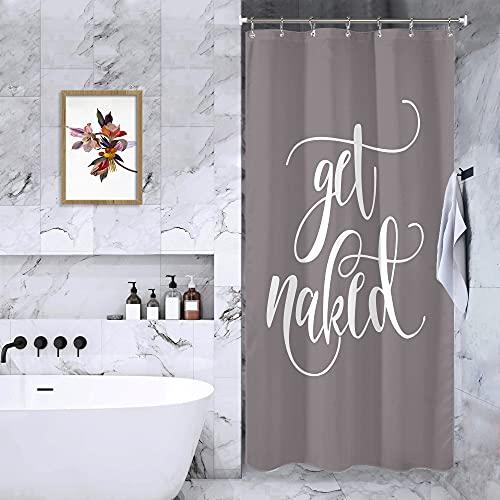 Riyidecor Fashion Get Naked Words Duschvorhang 36Wx72L Grau Get Naked