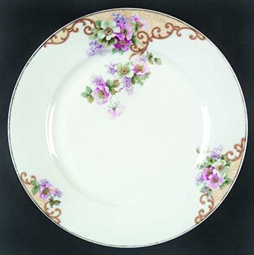 Vintage Thun Tk 2 Dinner Plates Czechoslovakia.Pattern 163 Windemere, multi-sided, gold rimmed with pink flowers