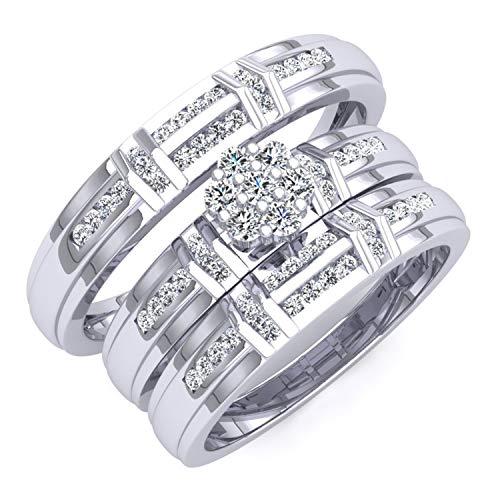 DazzlingRock Collection 0,50Carat (quilate) 18K Oro Blanco Redondo Blanco Diamante Hombres y Mujeres del Anillo de Compromiso Novia Set 1/2CT