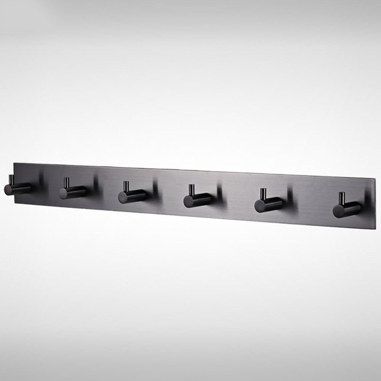 XIA Coat Rack Stainless Steel Wall Hanging 6 Hooks Black Hangers