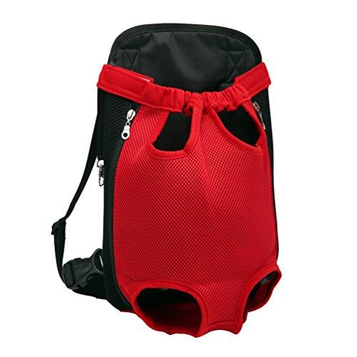 YOUJIA Mochila Bolsa para Perro Gato Mascota, Bolsa de Transporte con Gancho y Correa Ajustable Rojo, M (32*20cm)