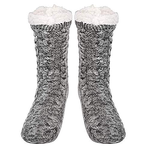 QDY Calientapiés térmicos Calcetines interiores de lana extracálidos Calcetines extra suaves y esponjosos para mujer Calcetines antideslizantes con forro polar de invierno (Gris)