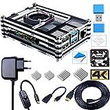 Bruphny Boîtier pour Raspberry Pi 4 avec Ventilateur 35mm, 4 Dissipateurs, Alimentation USB-C 3A, Câble Micro HDMI 1.8m, Adaptateur HDMI-Micro HDMI, Lecteur de Carte USB pour Raspberry Pi 4 Modèle B