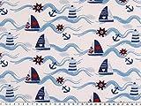 ab 1m: Kinderjersey, Baumwolle, Schiffe, weiß-blau-rot,