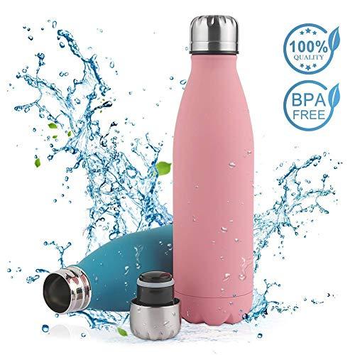 Vivibel Vakuum Isolierte Trinkflasche Edelstahl,BPA Frei Wasserflasche Auslaufsicher - 500/750ml Thermosflasche für Sport, Outdoor, Büro, Kinder, Schule, Kleinkinder, Kindergarten