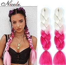 NICOLE Two Tone Ombre Crochet Braids Soft Kanekalon Hair Blonde To Pink