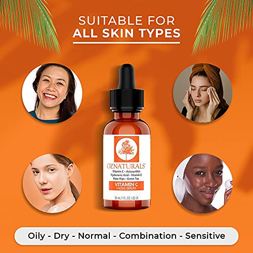 51KJ5mG01mS. SL500  - OZNaturals Vitamin C Serum For Face with Hyaluronic Acid - Anti Aging Serum With Pure Vitamin E Oil and Rosehip Oil - All Natural Antioxidant Facial and Skin Serum For A Brighter, Even Skin Tone