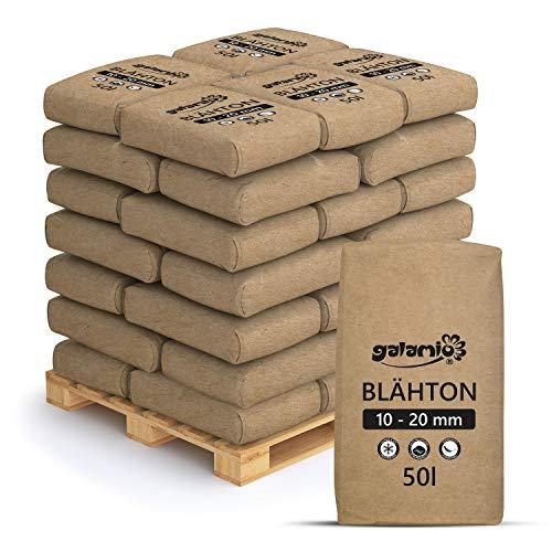 PALIGO Blähton Keramsit Pflanz Granulat Ton Steine Lava Mulch Drainage Hydro Kultur Substrat Trocken Schüttung Dämmung Grob 10-20mm 50l x 39 Sack 1.950l / 1 Palette Galamio