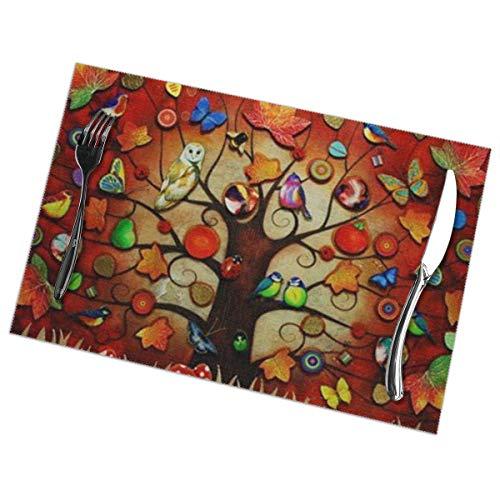 ghkfgkfgk Tischsets Set 6, Baum des Lebens Porta Copertura Antiscivolo Lavabile In Lavatrice Hitzebeständige Tischsets Waschbare Tischsets Für Küche Esstisch 12X18 Zoll