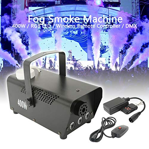 Tengchang Professional 400W Fog Smoke Machine 3X3W LED RGB LED light Fogger, with Wire & Wireless Remote for Halloween Party DJ Wedding Effect
