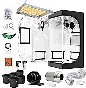 """iPower Grow Tent Kit Complete Full Spectrum LED Plant Light Lamp Indoor Hydroponics 24""""x24""""x48"""" Combo with 4 Inch Fan Filter Ventilation, 24"""" x 24"""" x 48"""", System Setup Package, 2'x2'"""