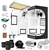 iPower Grow Tent Kit Complete Full Spectrum LED Plant Light Lamp Indoor Hydroponics 24'x24'x48' Combo with 4 Inch Fan Filter Ventilation, 24' x 24' x 48', System Setup Package, 2'x2'