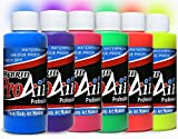 Face Painting Makeup - ProAiir Waterproof Makeup - Set of 6 UV/Fluorescents - 2.1 oz (60ml)