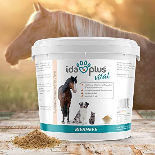 Ida Plus - Reines Bierhefe-Pulver - 3 kg - 100% Naturprodukt für Hunde, Katzen & Pferde - Futterergänzung für glänzendes Fell & kräftige Haut - reich an B-Vitaminen, Mineralien & Spurenelemente - 8