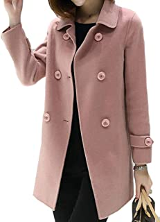 Women's Casual Lapel Wool-Blended Pure Colour Double-Breasted Pea Coat