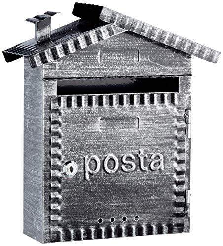Arregui Rustica D-2202 Individueller Briefkasten aus Metall im rustikalen Stil, Größe S (DIN A5), Schwarz gebürstet, 32,5 x 28,5 x 11 cm