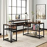 Tribesigns Lift Top L-Shaped Desk, Industrial Height Adjustable Corner Computer Desk with Shelves, 63 Inches Rustic L Shaped Standing Desk Great for Home Office (Rustic)