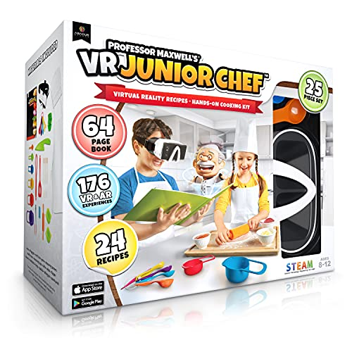 Professor Maxwell's VR Junior Chef - Virtual Reality Kids Cookbook and Interactive Food Science STEM Learning Activity Set (Full Version - Includes Goggles)