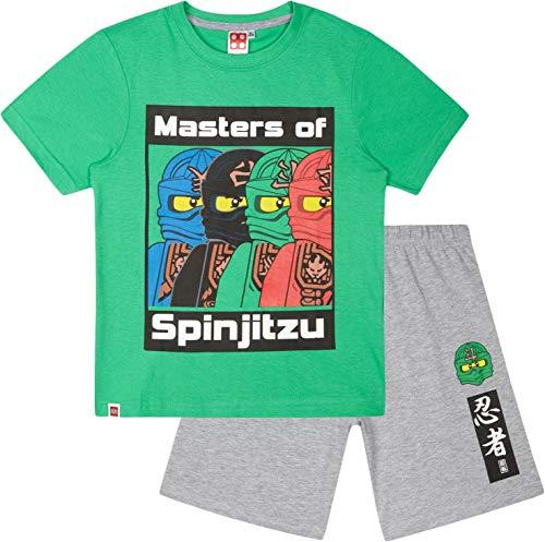 LEGO Ninjago Schlafanzug Shorty Jungen Kurz (Grün-Grau, 122-128)