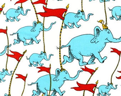 Robert Kaufman Dr Seuss Oh The Places You'll Go ADE-13089-203 Elephants Quilt Fabric by The Yard